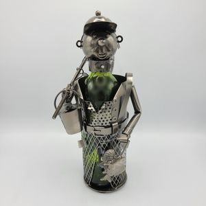 Handcrafted Metal Fisherman Wine Bottle Holder